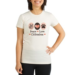 Peace Love Chihuahua Organic Women's Fitted T-Shirt