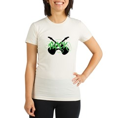 Rock (Crossed Guitars Green) Organic Women's Fitted T-Shirt