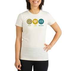 Peace Love Railways Organic Women's Fitted T-Shirt