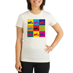 Biking Pop Art Organic Women's Fitted T-Shirt