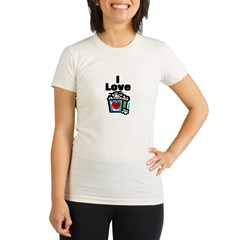 I Love Popcorn Organic Women's Fitted T-Shirt