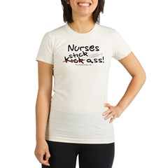 Nurses Stick Ass Organic Women's Fitted T-Shirt