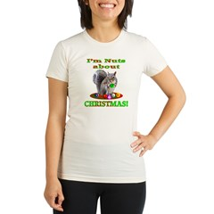 Squirrel Christmas Organic Women's Fitted T-Shirt