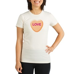 LOVE Orange Candy Heart Organic Women's Fitted T-Shirt