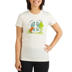 Moose and Peace Sign Organic Women's Fitted T-Shirt