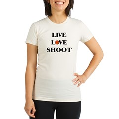Live, Love, Shoot (Basketball) Organic Women's Fitted T-Shirt