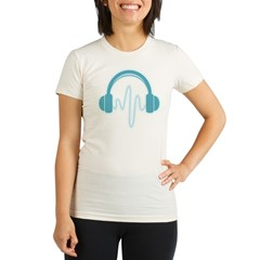 Blue Headphones Maternity Tee (Dark) Organic Women's Fitted T-Shirt