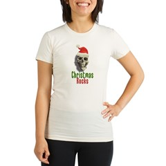 Christmas Rocks Skull Organic Women's Fitted T-Shirt