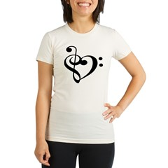 Treble Bass Clef Hear Organic Women's Fitted T-Shirt