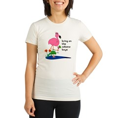 Flamingo on vacation with martini on Organic Women's Fitted T-Shirt