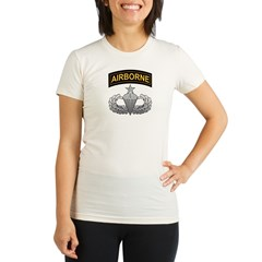 Senior Airborne Wings with Ai Organic Women's Fitted T-Shirt