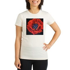 Red Poppy on Black Organic Women's Fitted T-Shirt