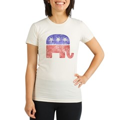 Faded Republican Elephant Organic Women's Fitted T-Shirt