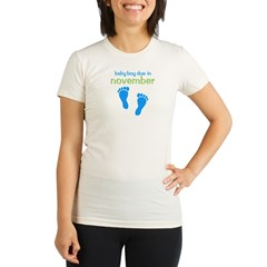 Blue Footprints (Boy, Due Dat Organic Women's Fitted T-Shirt
