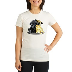 Black Fawn Pug Organic Women's Fitted T-Shirt