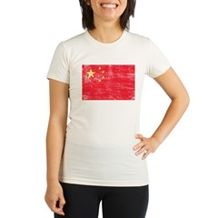 China Flag Organic Women's Fitted T-Shirt