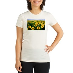 Sunflowers in field Organic Women's Fitted T-Shirt