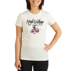 high voltage line wife white shirt Organic Women's Fitted T-Shirt