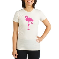 Hot Pink Flamingo Organic Women's Fitted T-Shirt