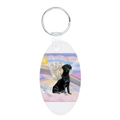 Black Lab Angel Aluminum Oval Keychain