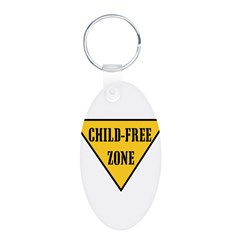 Child-Free Zone Aluminum Oval Keychain