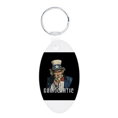 Vote Democratic II - Uncle Sa Aluminum Oval Keychain