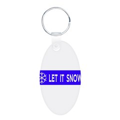 Think Snow Aluminum Oval Keychain