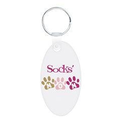 Socks's Mom Aluminum Oval Keychain
