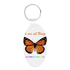Butterfly: Autism Awareness Aluminum Oval Keychain