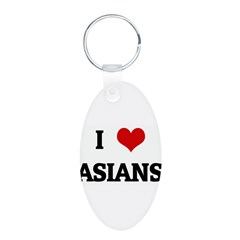 I Love ASIANS Aluminum Oval Keychain