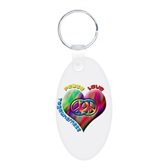 Peace Love Togetherness Aluminum Oval Keychain