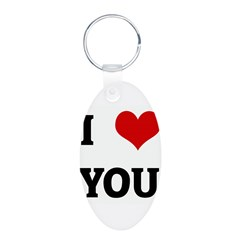 I Love YOU Aluminum Oval Keychain