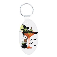 Halloween Martini Girl Aluminum Oval Keychain