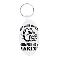 Marine Girlfriend Aluminum Oval Keychain