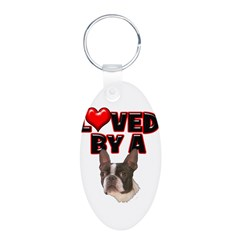 Loved by a Boston Terrier Aluminum Oval Keychain