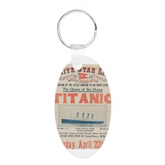 Titanic Advertising Card Aluminum Oval Keychain