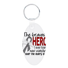 Bravest Hero I Knew Brain Cancer Aluminum Oval Keychain