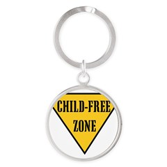 Child-Free Zone Round Keychain