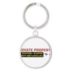 3 x 10 No Trespassing Decal Round Keychain
