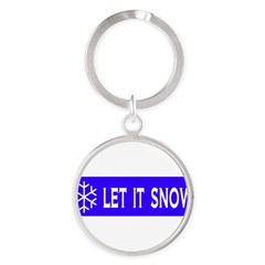 Think Snow Round Keychain