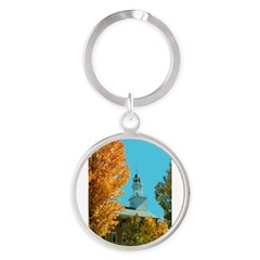 Vermont Country Church Round Keychain