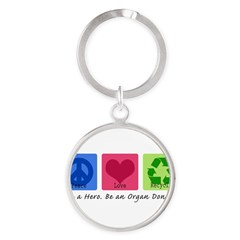 Peace Love Recycle Round Keychain