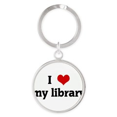 I Love my library Round Keychain