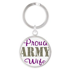 Army Purple Home/Office Round Keychain
