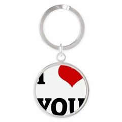 I Love YOU Round Keychain