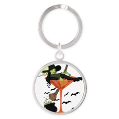 Halloween Martini Girl Round Keychain