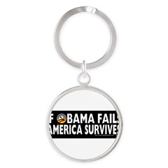 Anti-Obama Obama Fails America Survives Round Keychain