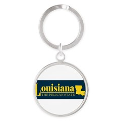 Louisiana Gold Round Keychain
