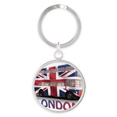 London Bus with Union Jack an Round Keychain