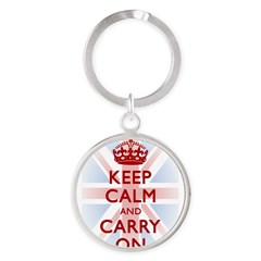 Keep Calm and Carry On Round Keychain